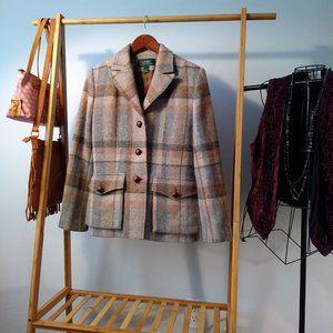 Ralph Lauren Wool Equestrian Plaid Pea Coat S